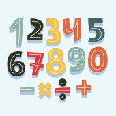 Vector cartoon hand drawn cute number set for game aor birthdaay card division signs multiplication subtraction addition
