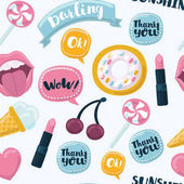 Fashion cartoon funny seamless background with lips hearts speech bubbles and other elements