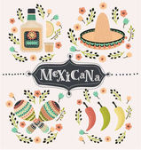 Vector cartoon mexican set of illustration of chilli papers tequilla slice of lemon sambrero maracases and caballito decorated with flower Hand drawn lettering mexicana