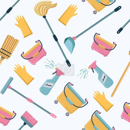 Vector pattern of cleaning tools. Cleaning service.