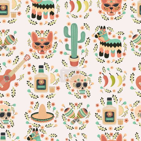 Cartoon hand-drawn latin american, mexican seamless pattern.