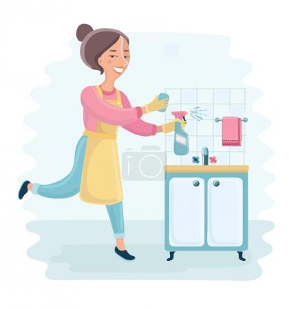 An illustration of a beautiful housewife holding cleaning spray