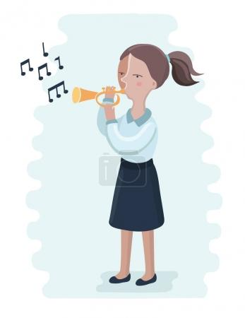 The trumpet performance by the school girl.