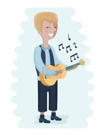 Illustration of boy playing acoustic guitar