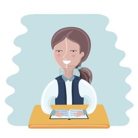 Illustration of schoolgirl sitting at the desk