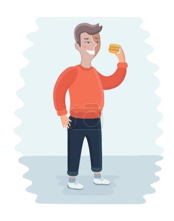 Fat happy man eating burger