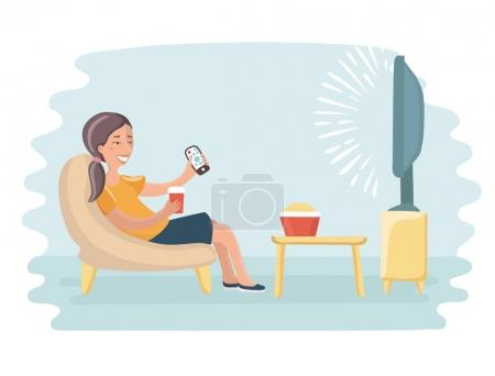 Woman watching television armchair and sitting in chair, drinking