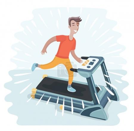 Young adult man running on treadmill, sport, fitness, athletics, healthy lifestyle.
