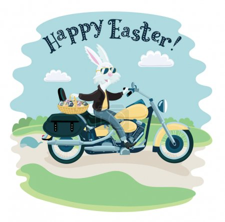 One rabbit mounted on a motorcycle background in cartoon style illustration.