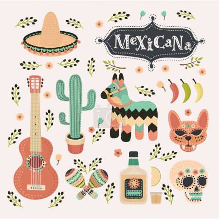 Meixican set in vintage color. Mexicana party icon, siesta, holliday, carnival