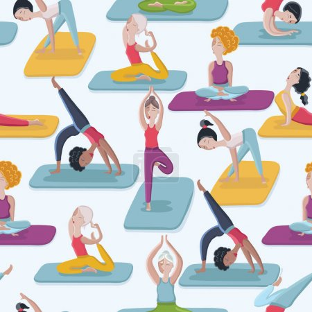 Yoga poses seamless pattern background
