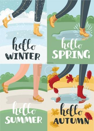 hello four season, vector calligraphy style with retro texture, flat minimal design