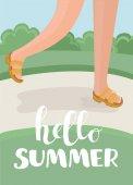Vector cartoon illustration of funny feet in sandals walking in summer park lane Hello summer design concept