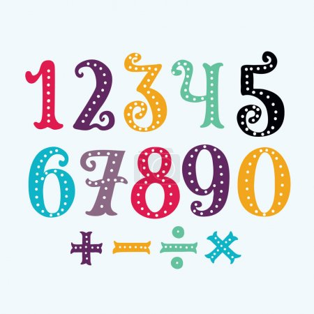 the numbers in fun in the style of children. from 0 to 9