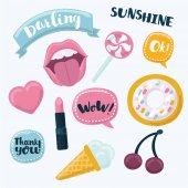 Fashion cartoon funny patch badges with mouth heart speech bubbles cheries donut and other elements Vector illustration isolated on white background Set of stickers patches