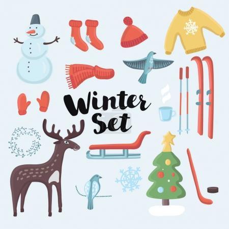 Cute Vector set winter clothing
