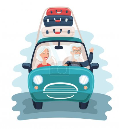 Cool vector flat character design on senior age travelers with vintage old car with luggage on top. Retired tourists couple ready to their road trip.