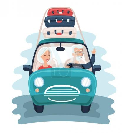 Illustration for Vector illustration of cartoon character design on senior age travelers with vintage old car with luggage on top. Retired tourists couple ready to their road trip. Grandparents on summer holidays trip - Royalty Free Image