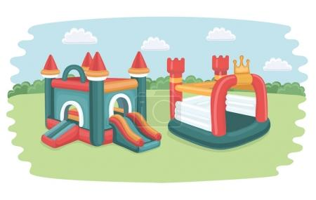 Illustration for Vector cartoonfunny illustration with two big inflatable slides: castles, trampoline for kids on playground in the park - Royalty Free Image