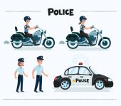 Set of colorful isolated vector policeman at work