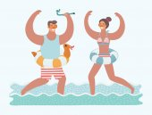 Vector illustration of couple running in sea water with diving mask on their faces and diving tube in theirs hands