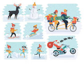 Set of cartoon people in winter clothes Including various lifestyles and ages like businessman man woman teenagers children seniors couple