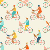 Funny cartoon bicycle riders group seamless pattern in vector Dog lovers friends team riding bikes carrying dogs in baskets Fun outdoor activities of people and their dogs