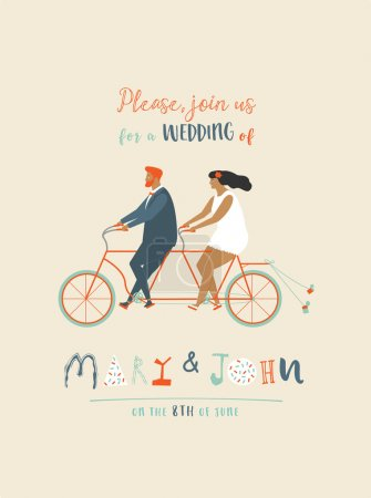 Wedding invitation with groom and bride riding tandem bicycle. Cute newlyweds  a bike, going to honeymoon.