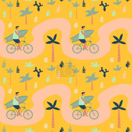 Surfer bicycle rider with surfboard on the beach seamless pattern. Summertime illustration.