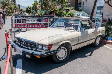 Old sports Mercedes cabriolet at an exhibition of old cars in the Karmiel city