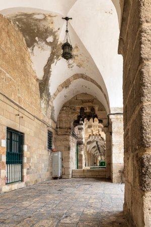 Jerusalem, Israel, March 3, 2020 : The passage passing along the eastern wall on the Temple Mount in the Old Town of Jerusalem in Israel