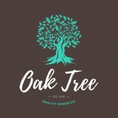 Oak tree handmade shabby logo design concept on brown background
