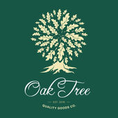 Oak tree handmade shabby logo design concept on green background