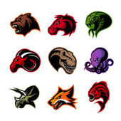 Bear horse snake ram fox piranha dinosaur octopus head isolated vector logo concept