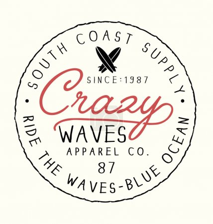 Illustration for Logo of surfing with inscription Crazy waves, vector illustration - Royalty Free Image