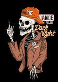Dancer skeleton and dark night dance clubvector