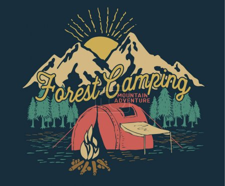 Forest camping poster