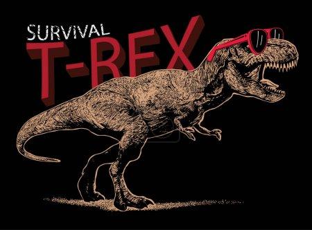 Illustration pour T-rex élégant en illustration de lunettes de soleil. Conception de modèle d'affiche - image libre de droit