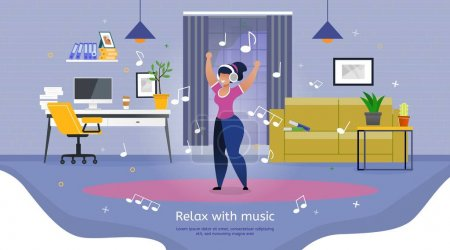 Illustration for Relaxing and Leisure After Productive Work or Learning Trendy Flat Vector Banner, Poster. Happy Woman, Female Student, Employee in Headphones, Listening Music and Dancing at Workplace Illustration - Royalty Free Image
