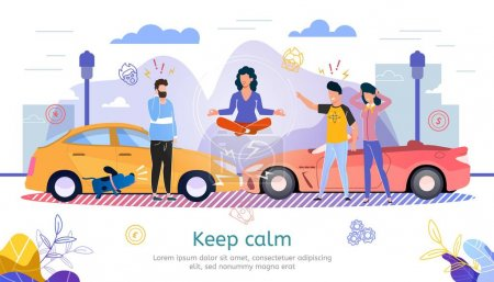 Illustration for Car Insurance Company, Lawyer Counseling, Road Emergency Service Trendy Flat Vector Advertising Banner, Promo Poster. Woman Keep Calmness When Got Into Car Accident, Collision on Road Illustration - Royalty Free Image