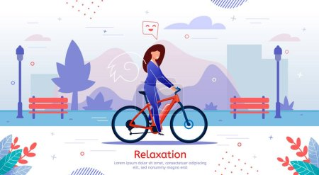 Illustration for Healthy Lifestyle, Active Relaxation, Outdoor Recreation Trendy Flat Vector Banner, Poster Template. Happy Lady Resting in City Park, Woman Riding Bicycle, Enjoying Free Time on Weekend Illustration - Royalty Free Image
