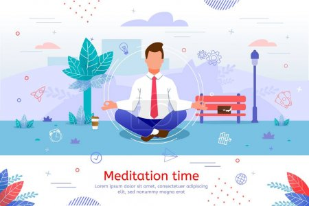 Illustration for Meditation Practices for Businesspeople Trendy Flat Vector Banner, Poster Template. Businessman, Company Manager, Office Worker Sitting Cross-Legged, Making Break in Work for Rest in Park Illustration - Royalty Free Image
