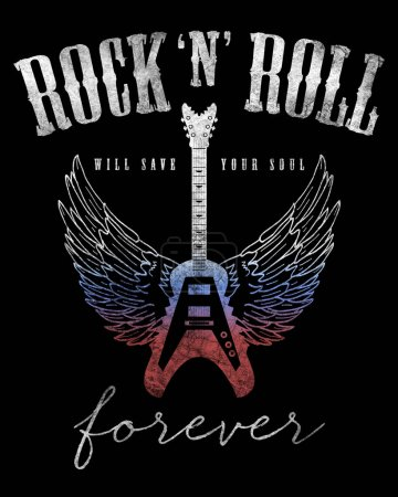 Photo for Fashion graphic design with rock slogan rock and roll for t-shirt on black background - Royalty Free Image