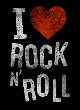 fashion graphic design with rock slogan i love rock and roll for t-shirt on black background