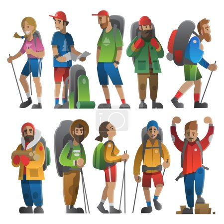 Illustration for Vector illustration on the theme of hiking, backpacking, climbing, traveling, trekking, walking. Big set of hiking people. Adventure in nature outdoor recreation vacation. For postcard, banner, web. - Royalty Free Image