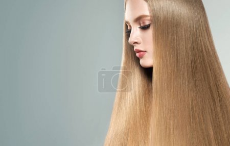 girl with shiny blond straight long  hair