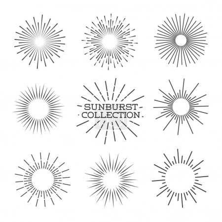 Vector sunburst set. Vector Illustration