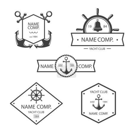 Anchor and yacht club logo set.