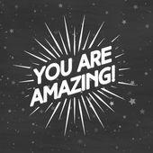 You are amazing label with sunburst on magic stars background.