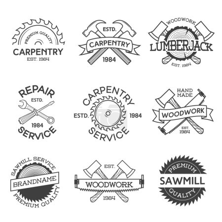 Set of carpentry, repair, lumberjack, sawmill and woodwork labels isolated on white background. Stamps, banners and design elements. Wood work and manufacture label templates. Vector illustration